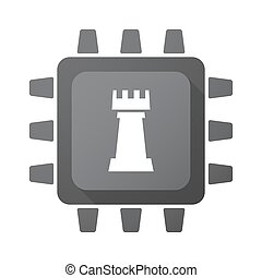Isolated chip with a rook chess figure - Illustration of an...