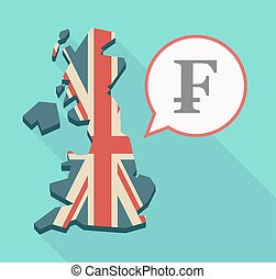 Long shadow UK map with a swiss franc sign - Illustration of...