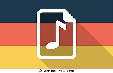 Long shadow Germany flag with a music score icon -...