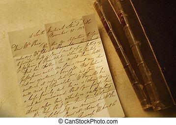 letra, 1800s, dois, LIVROS