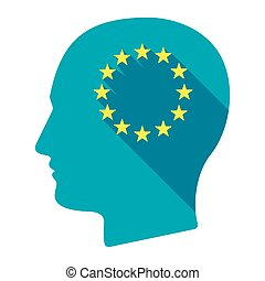 Isolated male head with  the EU flag stars
