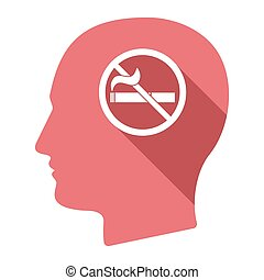 Isolated male head with a no smoking sign - Illustration of...