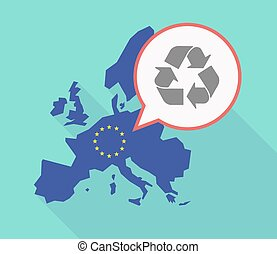 Long shadow EU map with a recycle sign - Illustration of a...