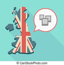 Long shadow UK map with a few photos - Illustration of a...