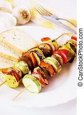 Grilled vegetables on skewer - Grilled vegetable on skewer...