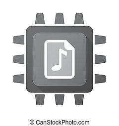 Isolated chip with a music score icon - Illustration of an...