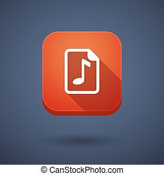 Long shadow button with a music score icon - Illustration of...