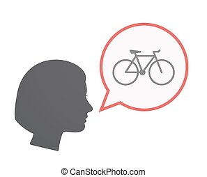 Isolated female head with a bicycle