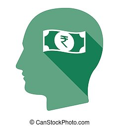 Isolated male head with a rupee bank note icon -...