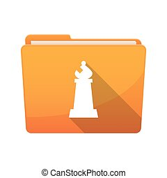 Isolated folder with a bishop chess figure - Illustration of...