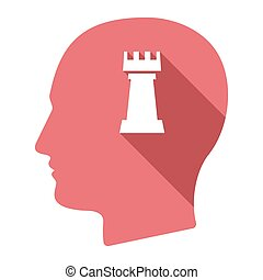 Isolated male head with a rook chess figure - Illustration...