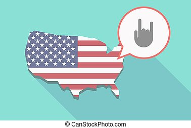 Long shadow USA map with a rocking hand