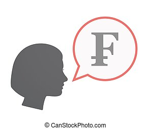 Isolated female head with a swiss franc sign - Illustration...
