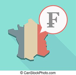Long shadow France map with a swiss franc sign -...