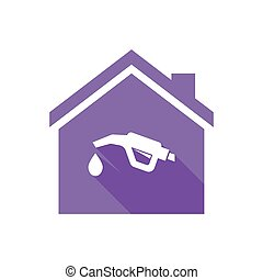 Isolated house with  a gas hose icon