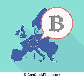 Long shadow EU map with a bit coin sign - Illustration of a...