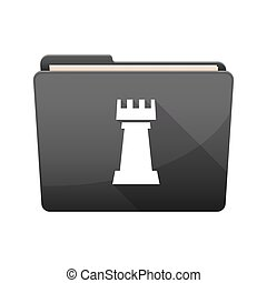 Isolated folder with a rook chess figure - Illustration of...