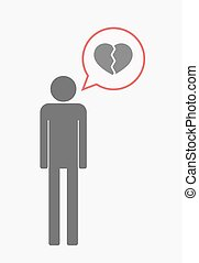 Isolated pictogram with a broken heart