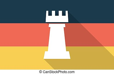 Long shadow Germany flag with a rook chess figure -...