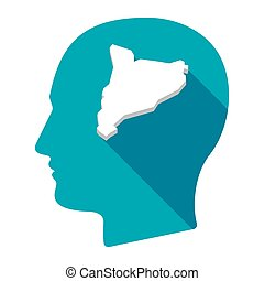 Isolated male head with  the map of Catalonia