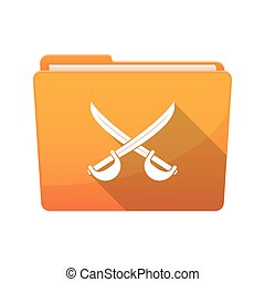 Isolated folder with  two swords crossed