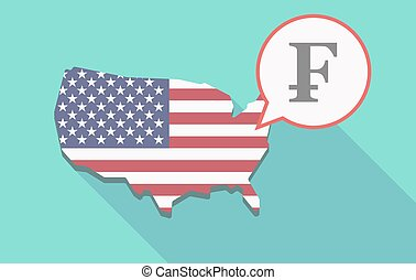 Long shadow USA map with a swiss franc sign - Illustration...