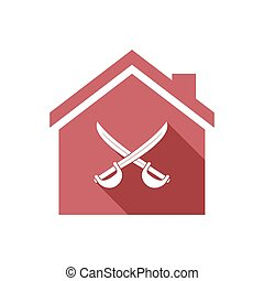 Isolated house with  two swords crossed