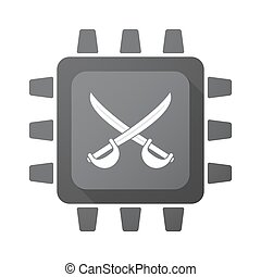 Isolated chip with  two swords crossed