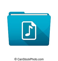 Isolated folder with a music score icon - Illustration of an...