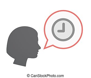 Isolated female head with a clock