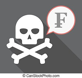 Long shadow skull with a swiss franc sign - Illustration of...