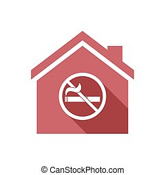 Isolated house with a no smoking sign - Illustration of an...