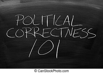 Political Correctness 101 On A Blackboard - The words...
