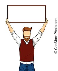 Handsome man holding blank board, isolated,vector...