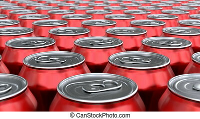 3D animation of red soda cans - Red soda cans mass...