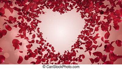 Red Rose Sakura Flower Petals In Heart Shape Background Placeholder Loop