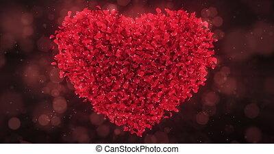Red Rose Flower Petals In Lovely Heart Shape Background Loop 4k