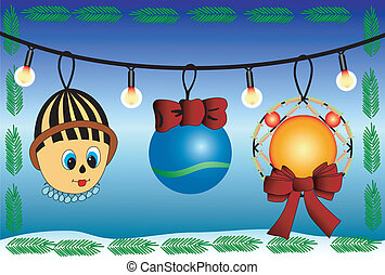 Christmas Toys - Set of christmas toys on a dark blue...