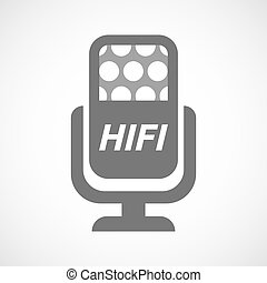 Isolated mic with the text HIFI - Illustration of an...