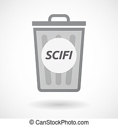 Isolated trashcan with the text SCIFI - Illustration of an...