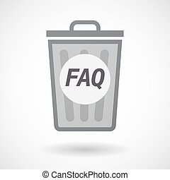 Isolated trashcan with the text FAQ - Illustration of an...