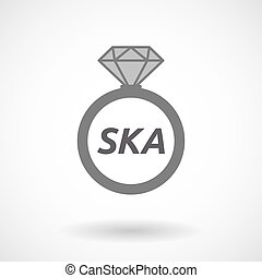 Isolated ring with the text SKA - Illustration of an...