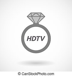 Isolated ring with the text HDTV - Illustration of an...