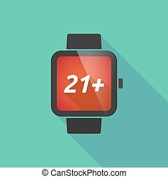 Long shadow smart watch with the text 21+ - Illustration of...
