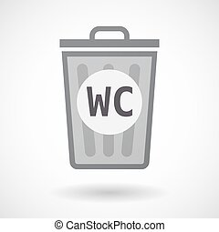 Isolated trashcan with the text WC - Illustration of an...