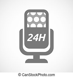 Isolated mic with the text 24H - Illustration of an isolated...
