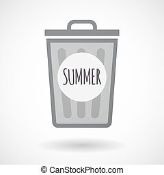 Isolated trashcan with    the text SUMMER