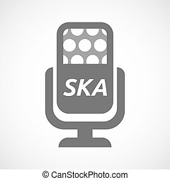 Isolated mic with the text SKA - Illustration of an isolated...