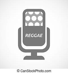 Isolated mic with the text REGGAE - Illustration of an...