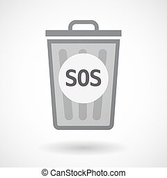 Isolated trashcan with the text SOS - Illustration of an...